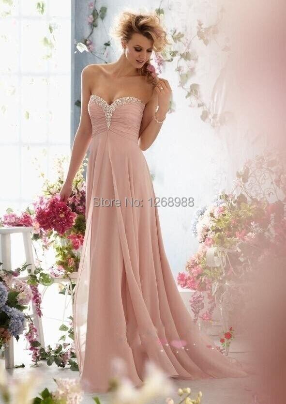 Special occasion pink chiffon beach wedding dress sweep for Chiffon sweetheart wedding dress