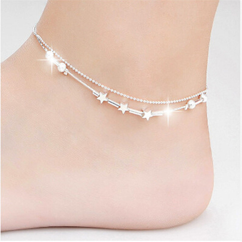 Sanwony New Hot Sales Silver Little Star Women Anklets For Fashion Jewelry Free shipping(China (Mainland))