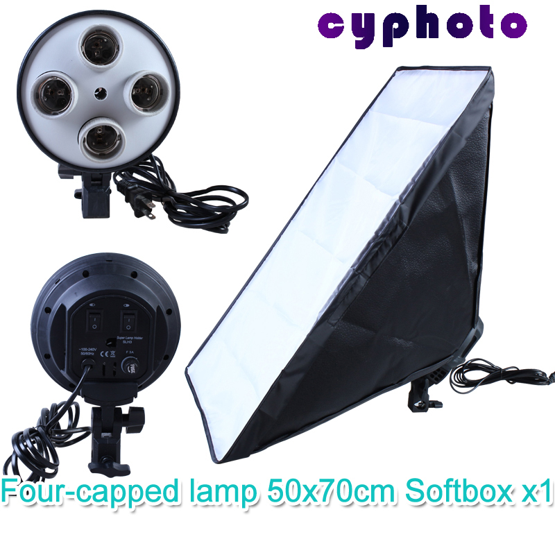 FreeTax To Russia 110-240v Photography Four Socket Lamp Holder With 50*70cm Continuous Lighting Softbox not include Light Stand(China (Mainland))