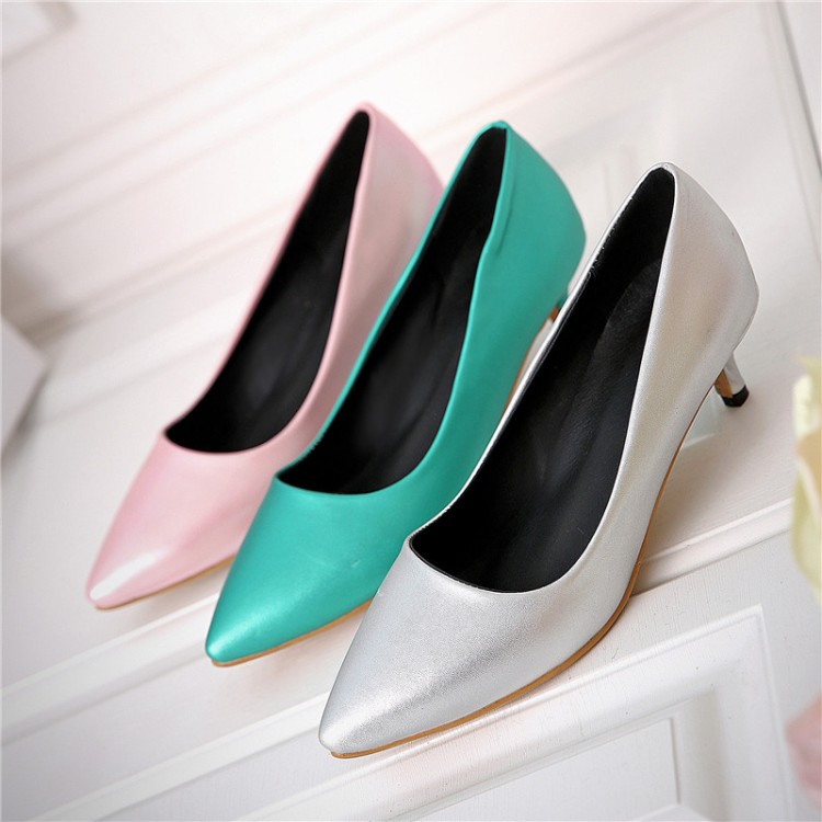 Big size 34-45 Shoes Woman 2016 New Arrival Wedding ladies Low heel shoes Fashion Sweet Dress pointed toe Women Pumps t330(China (Mainland))