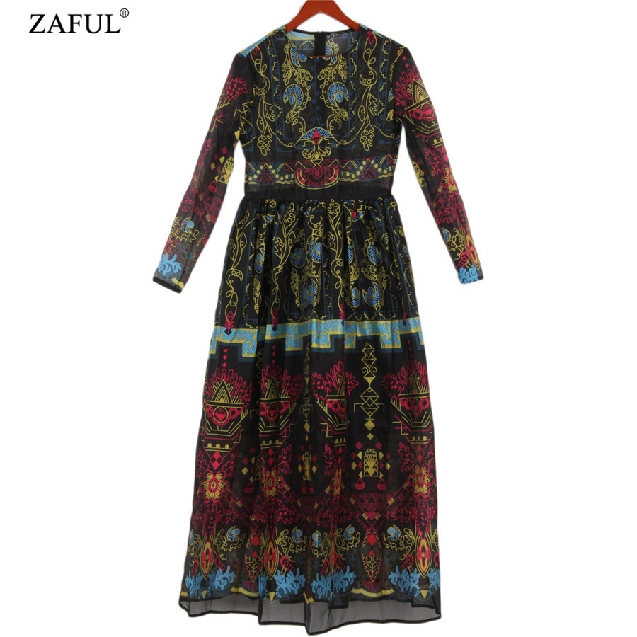 ZAFUL 2016 Spring New Arrival Women Fashion Vintage Style Colorful Print Voile Maxi Dress Long Sleeve Elegant Long Party DressesОдежда и ак�е��уары<br><br><br>Aliexpress