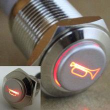 2 шт. 16 мм 12 В красный из светодиодов сиюминутных кнопка металл коммутатора автомобиль лодке колонки колокола рог ( другие Colos : синий / белый )