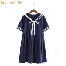 2016 summer new women's dress female line Japanese Naval College style sweet short-sleeved striped pure girls dress 2 colors(China (Mainland))