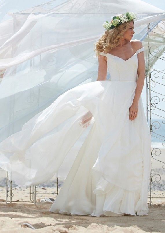 White cheap long wedding dresses off the shoulder lace for Simple off white wedding dresses