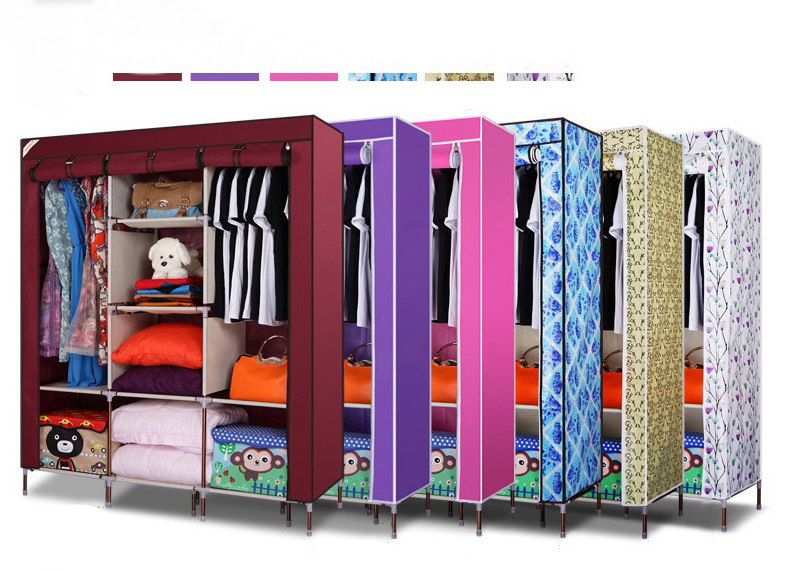 Oxford cloth tuba steel folding wardrobe simple armoires reinforcement and thickening 16mm 4 style to choose(China (Mainland))