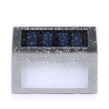 2 LED Солнечной энергии Из Нержавеющей Стали Лестница Шаг Настенный Светильник Для Сада Светильник Освещение Открытый Водонепроницаемый Закон Лампы(China (Mainland))