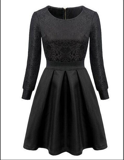 2015 Spring New Slim Temperament Jacquard Ladies Ball Gown Pleated Women Dresses Long-Sleeve Dobby Black Dress Tutu 9404(China (Mainland))