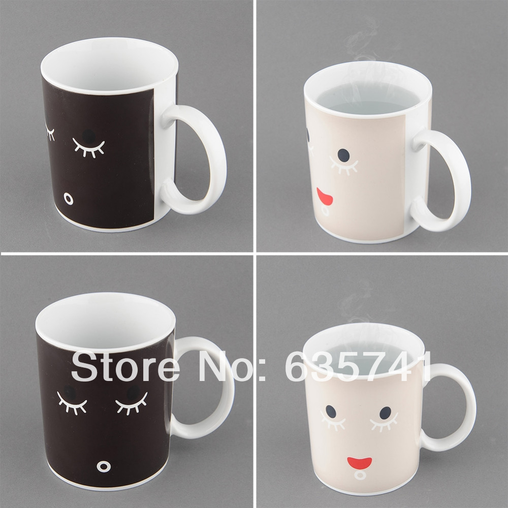 Facial Expression Magical Heat Sensitive Color Change Face Changing Mug Gift Free Shipping(China (Mainland))