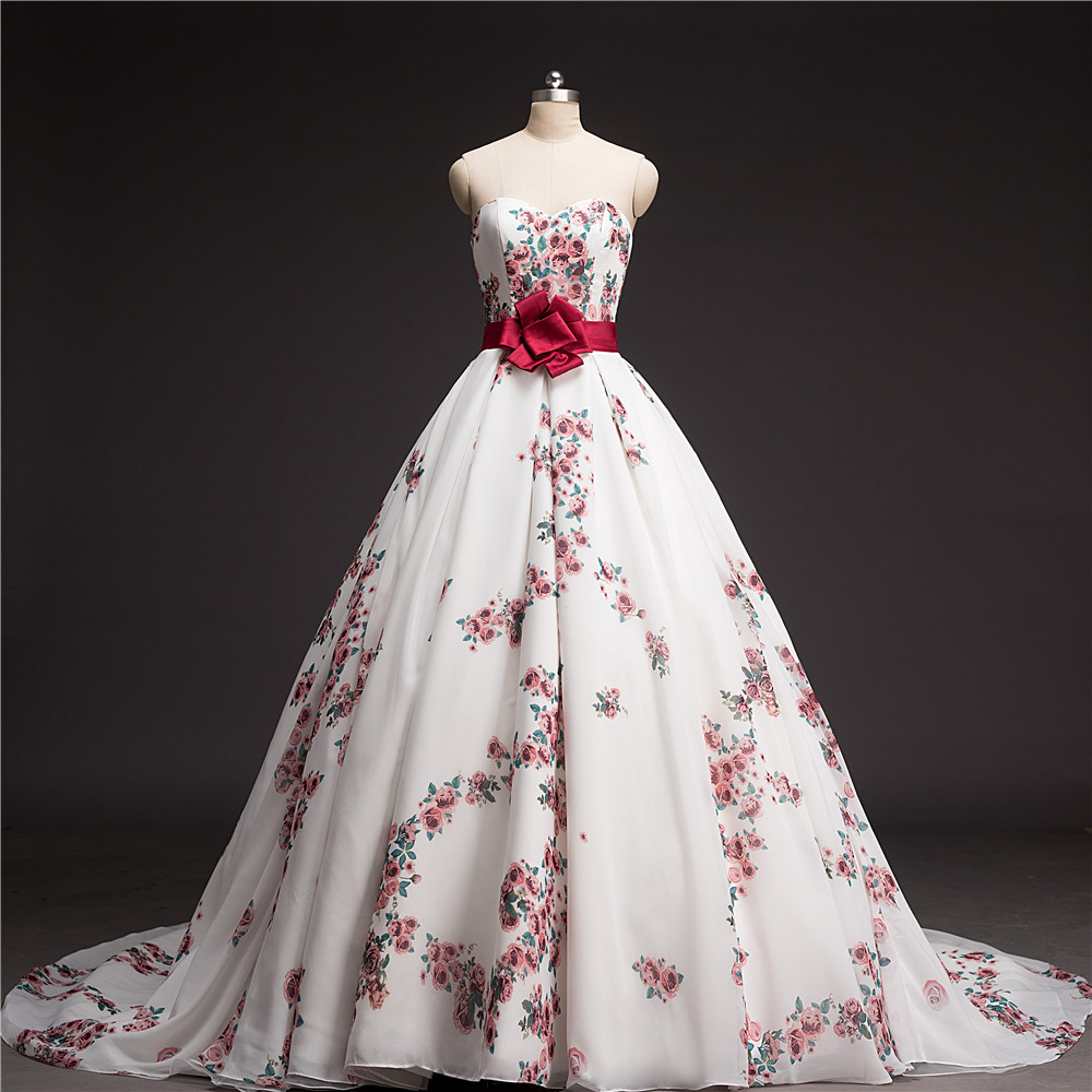 Flower Floral Wedding Gowns : Ball gown floral printed wedding dress chapel train