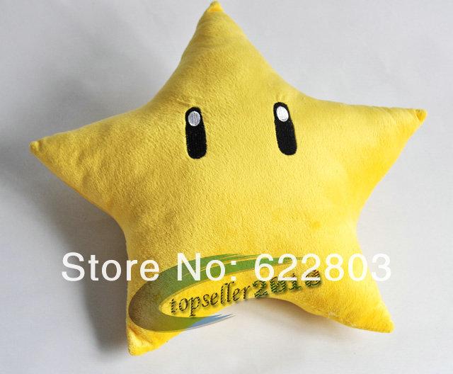 Free Shipping Super mario bros plush toys 10 inch cute star plush dolls mario cushion 1pcs(China (Mainland))