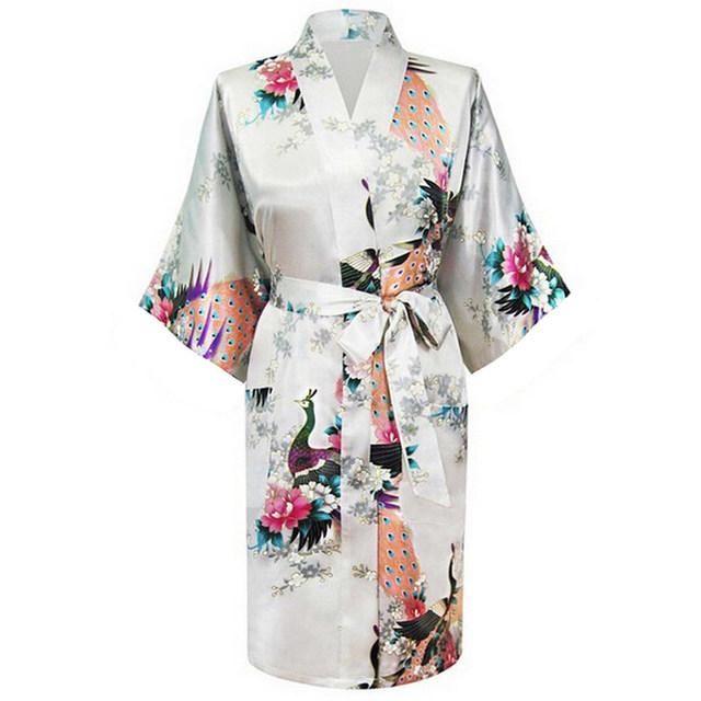 Высокое качество белых женщин полиэстер одеяние старинные кимоно новый печатный рубашки ...