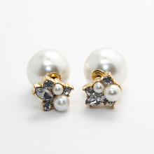 Pearl Jewelry Crystal Flower Fashion Summer Style Brincos Earrings for Women Pendientes Bijoux Jewelry CE160