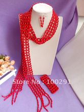 Free ship!!!Amazing!!!Scarf design long weave Coral Necklace Bracelet Earring African Wedding Coral Jewelry //Gary(China (Mainland))