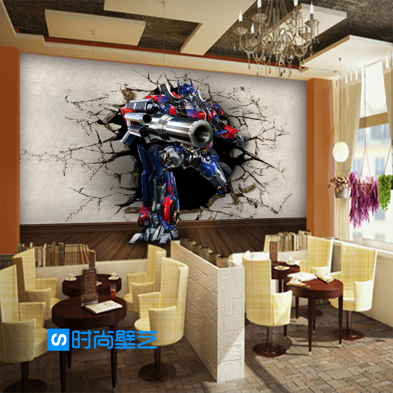Free Shipping 3D stereo science fiction cartoon wallpaper movie children room restaurant cafe background wallpaper mural(China (Mainland))