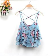 4 Colors 2016 Women Summer Clothing Spaghetti Strap Floral Print Chiffon Shirt Vest Blouses Crop Top(China (Mainland))