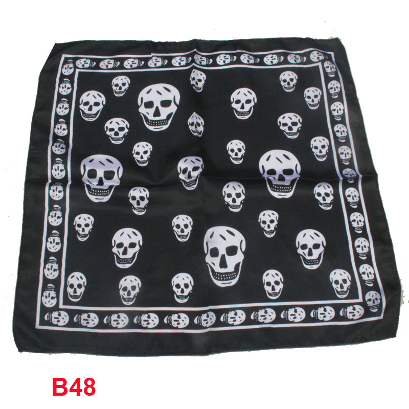 Baby Girl Boy Saliva Towel Silk scarf headband small facecloth square in 50 * 50 cm black skull scarf bandanas(China (Mainland))