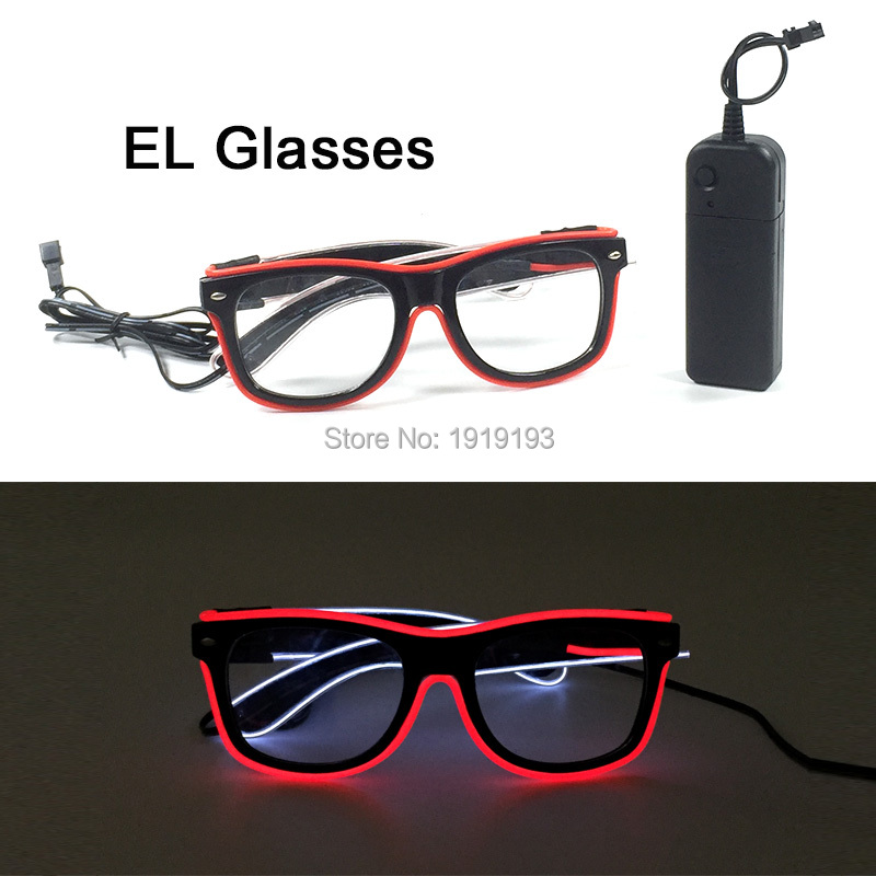 New Arrival Thanksgiving Decorative Shiny Neon LED Eyeglasses Novelty Lighting Flexible EL Cable Rope Glasses with DC-3V Driver