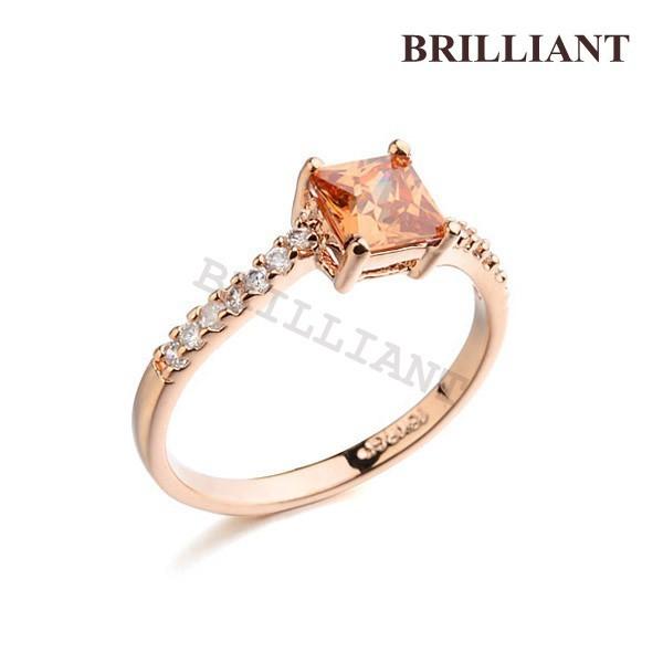BRA096 3 Pack Orange Crystal Gem Ring 18K Rose Gold Plated Wedding Rings Charm Jewelry Girls friendship - Brilliant store