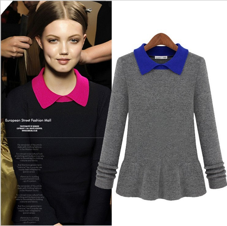 Wholesale - 2013 New Collection Women's Turn Down Collar Long Sleeves Ruffles Fashion Street Style Knitted Blouses(China (Mainland))