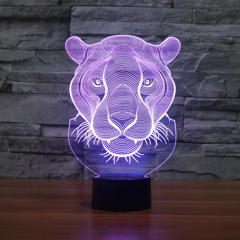Lion Face Night lighting 7 Color Changing Animal Led Night Lights 3D LED Desk Table Lamp as Home Decoration (3)