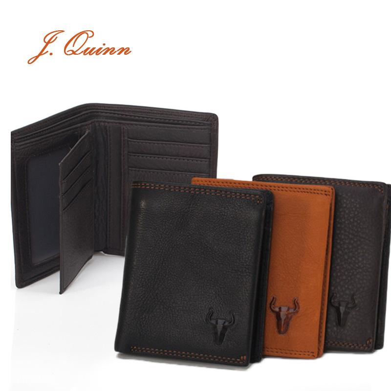 J.Quinn 2 Photo Short Cowhide Wallets for Men Vertical Black Bifold Genuine Leather Card Zipper Business Men Portfolios 2016 New(China (Mainland))