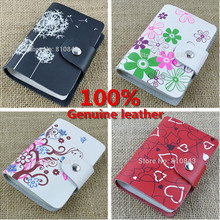 Free shipping 100 genuine leather credit name card holder Wholesale real cowhide leather card case 26
