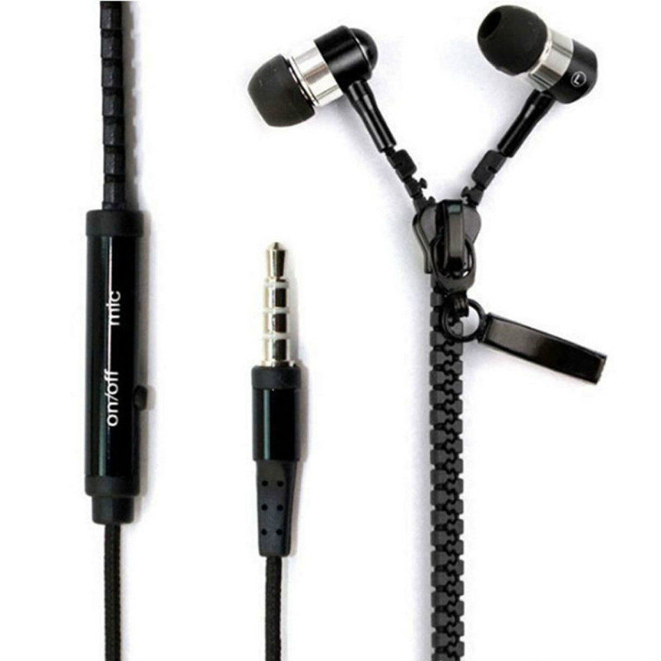 hot sale Stereo Bass Metal Zipper Earphones 3.5mm in-ear Headset Sport Headphone For Mobile Phone MP3 Player of 9 colors