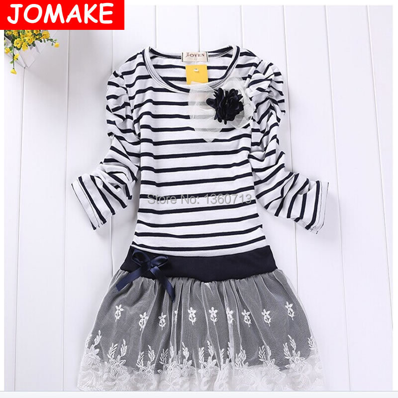 Hot Sale New Autumn Children Wedding Dress Baby Girls Dresses Kids Striped Bow Long-Sleeved Lace Princess Casual Dress For Party(China (Mainland))