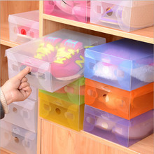 5pcs/lot Multicoloured Opened Rectangle Storage Box Stackable Crystal Clear Plastic Shoe Storage Boxes Folding Case Organizer(China (Mainland))