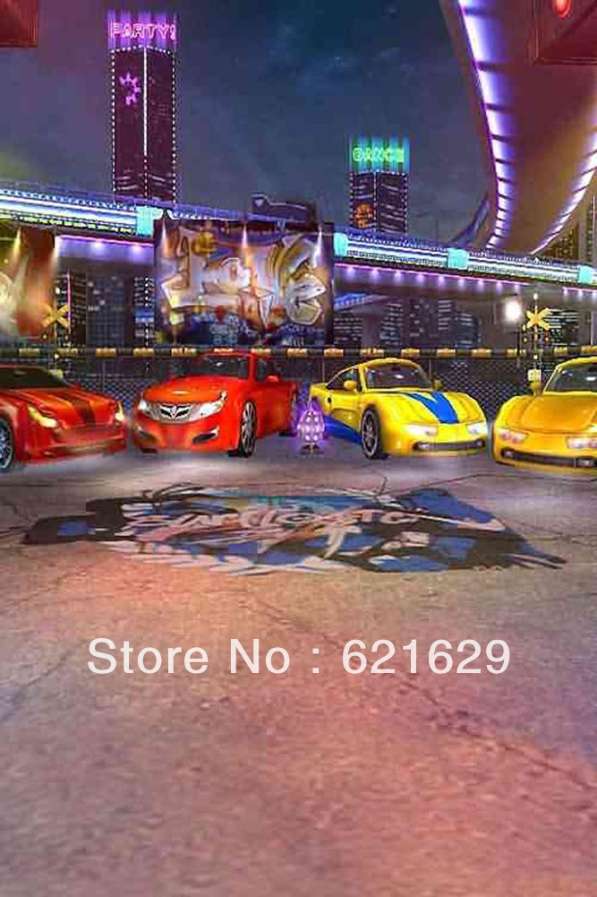 Cars Front Of The Club 8'x12' CP Computer-painted Scenic Photography Background Photo Studio Backdrop ZJZ-707(China (Mainland))