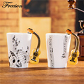 Creative Acoustic Guitar Music Bone China Mug 240 400ml Ceramic Coffee Cup Porcelain Tea Cup Zakka