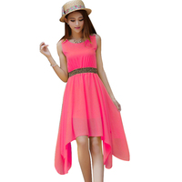 Summer Style Women Casual Dress Vestidos Women Summer Dress Chiffon Tropical Fashion Solid Color American Apparel NZH099