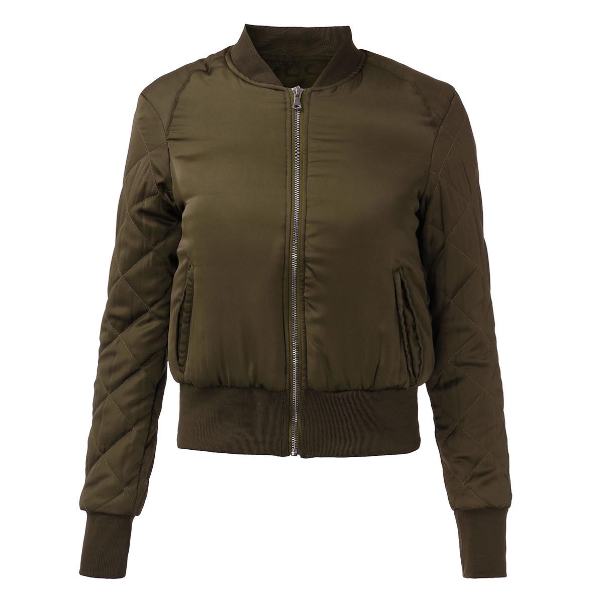 2016 Fashion Women Winter Warm Quilted Zipper Stand Collar Coat Jacket Padded Bomber Fleece ...