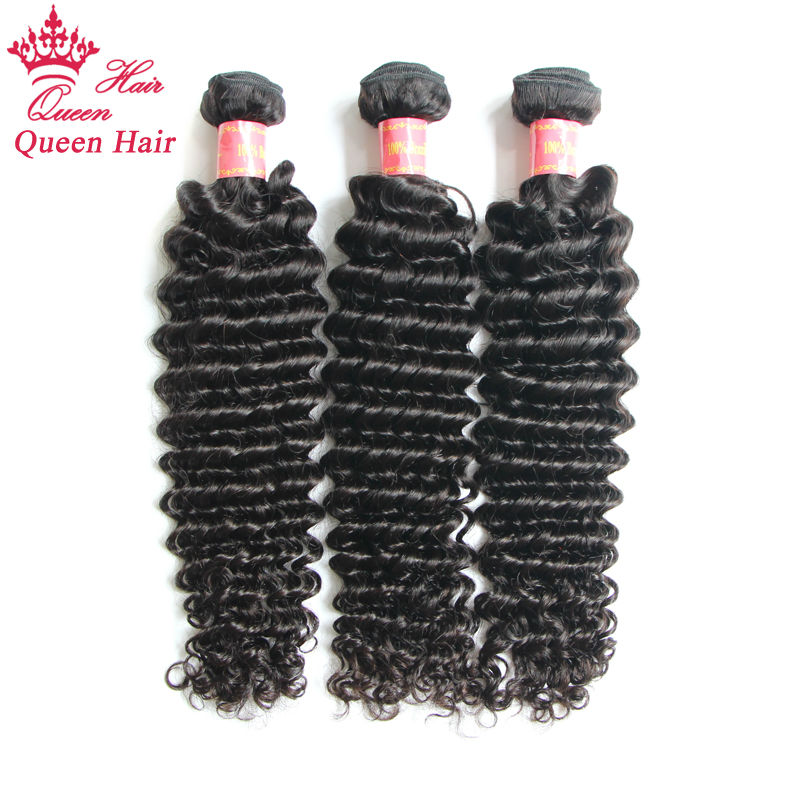 "Queen Hair Products Virgin Brazil Hair Steamed Deep Wave Machine Weft 3pcs/lot DHL Free Shipping 8""-30"" Curly Weave(China (Mainland))"
