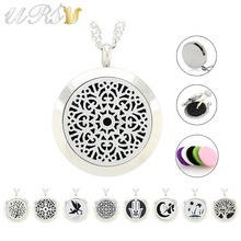 medium 25mm magnetic stainless steel essential oil diffuser necklace jewelry perfume pendant (free felt pads, locket only) - URS Jewelry store