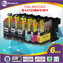 multipack 6PK  inkjet cartridge for brother LC123 for  mfc-J4510DW MFC-J4610DW 3 black and 3 colour pack