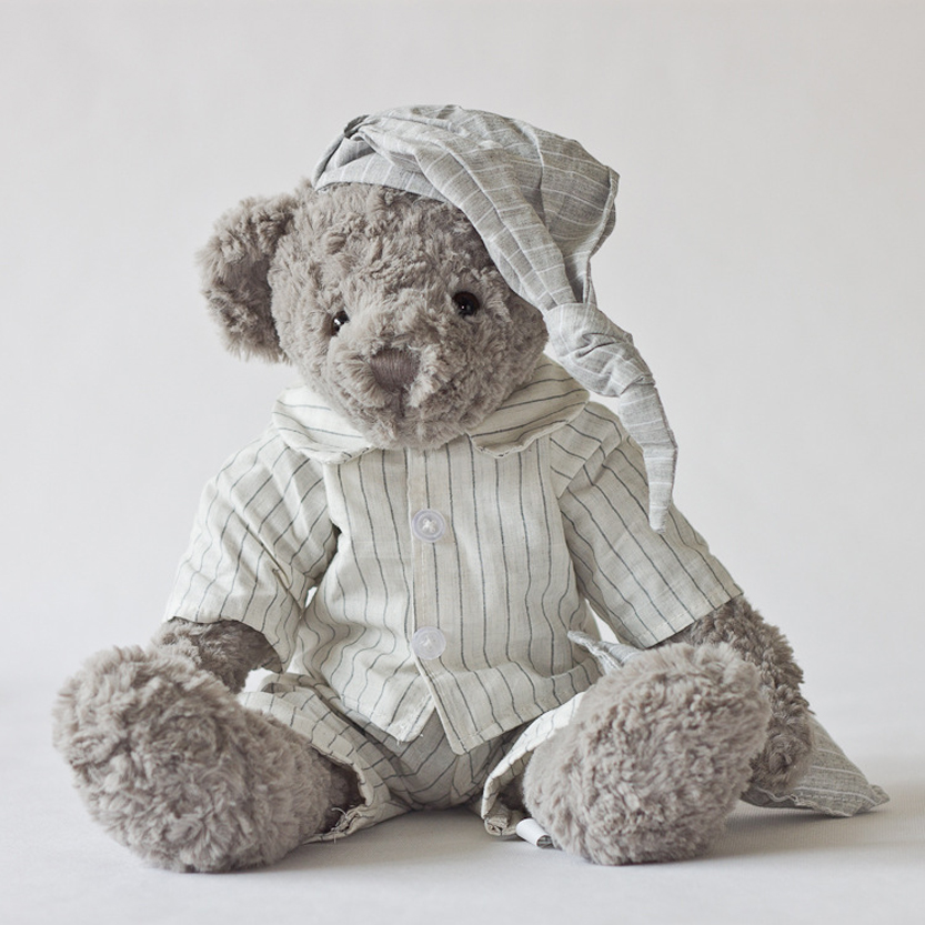 Kids Lovely Plush Stuffed Grey Bear Toy Striped Linen Nighty Bed Comforting Toy Birthday Christmas Valentines Gift In Stock 1pcs(China (Mainland))