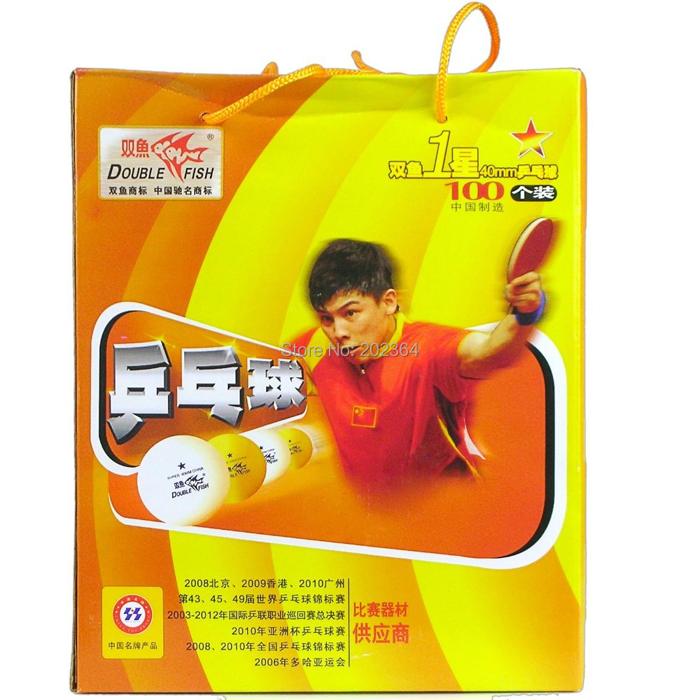 100x Double Fish White 40mm 1-Star 1 Star 1Star Training Table Tennis Balls(China (Mainland))