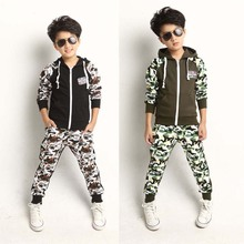 Boy Coat Children Coat In The Autumn Of 2014 Sports Suit Camouflage Clothing Sets Baby Clothes Boys Clothes Kids Clothes Sets(China (Mainland))