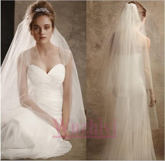 Бесплатная доставка новый элегантный тюль фата с края 2 слоя белый свадебные аксессуары ...
