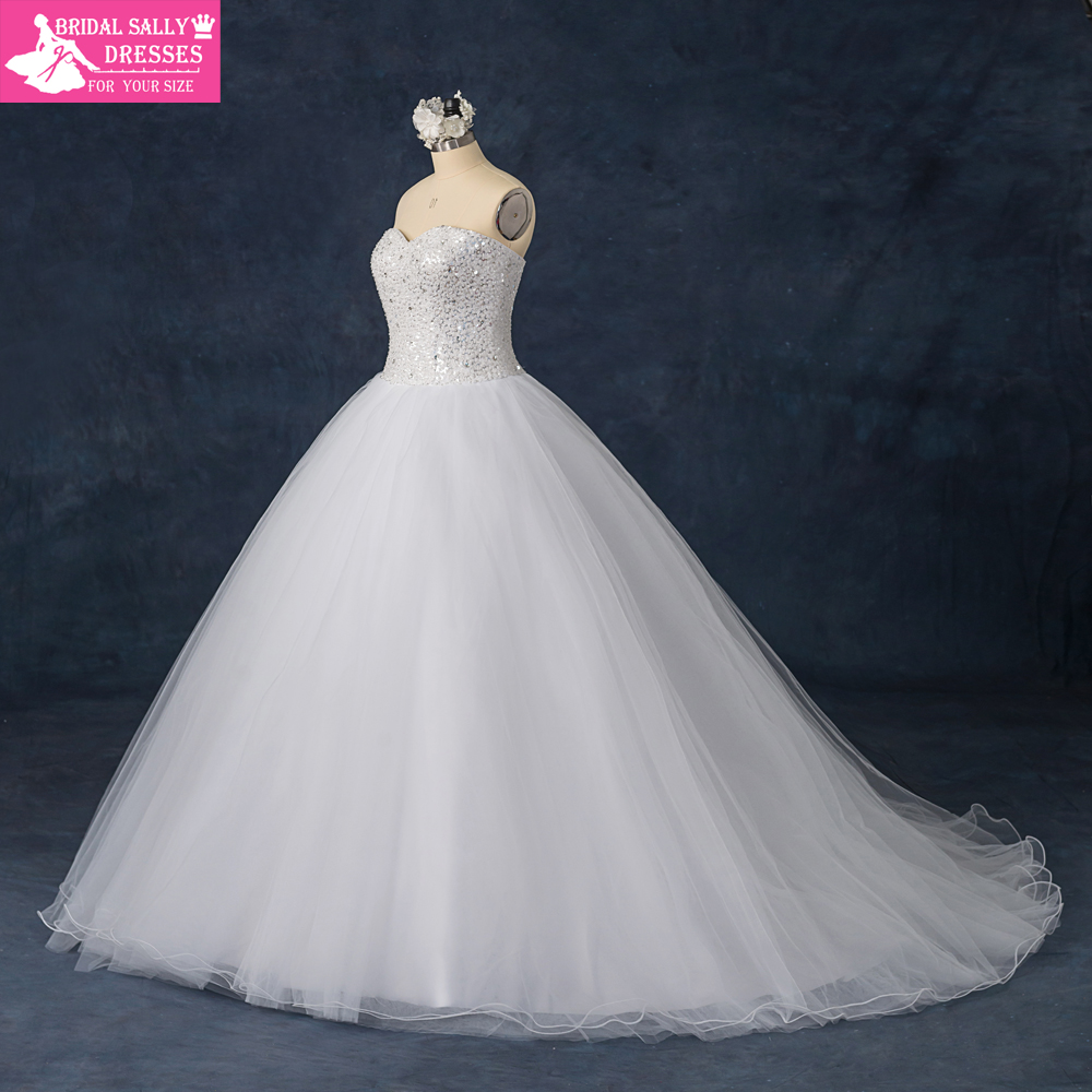 Luxury custom made sweetheart strapless beading shining for A big wedding dress