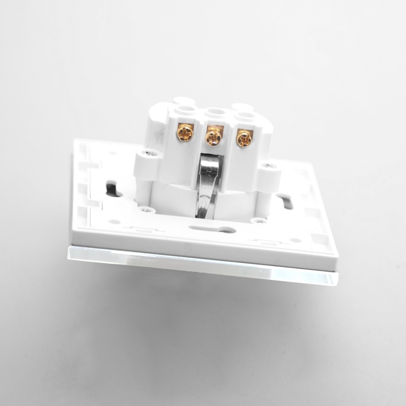 Free Shipping,KP001EU-W EU Power Electric Socket Schuko, White Crystal Glass Panel, 16A EU Standard Wall Outlet Electric Socket
