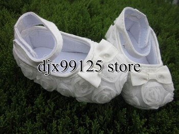 Free shipping 3 pairs/lot white Mary Jane Baby Shoes,Girls Toddler Soft Sole with Rose Flowers,Baby Prewalker Shoes