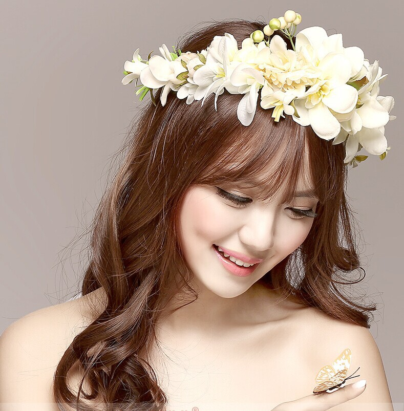 2016 New Women Wedding Rose Flower Wreath Headband Kids Party Floral Garlands Ribbon Adjustable