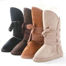 Ganador De Las Botas 2016 Nueva Moda Solid Mujeres de Punta Redonda Botas de Nieve Caliente de Piel Completa Cómodo Mujer Zapatos ST906(China (Mainland))