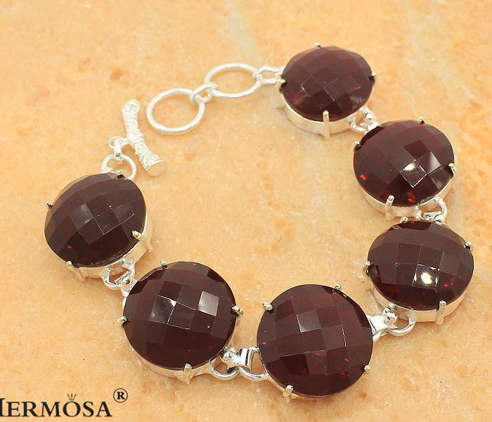 Hermosa Alexandrite Wedding Round Red Garnet New 925 Sterling Silver Chain Bracelet 8 T221 Free Shipping<br><br>Aliexpress