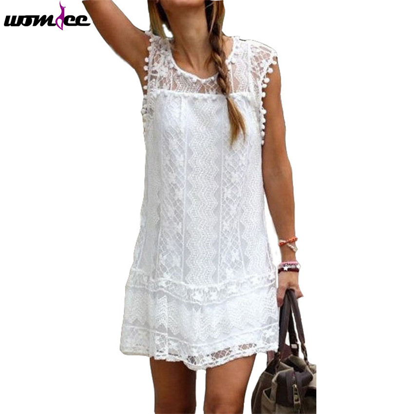 Womdee Ladies Summer Dress 2016 Sexy Women Casual Sleeveless Beach Short Dress Tassel Solid White Mini Lace Vestidos Tops Dress(China (Mainland))