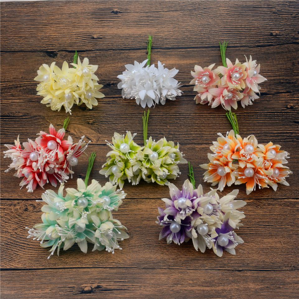 72pcs 3cm Silk Chrysanthemum Big Pearl Artificial Flower Bouquet For Wedding Decoration DIY Wreath Scrapbooking Craft Flower(China (Mainland))