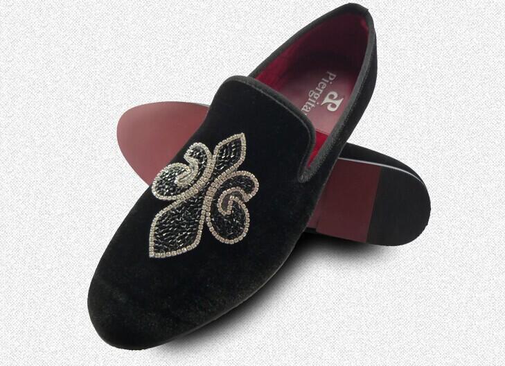 leisure shoes men black hotfix rhinestone velvet loafers US size 6-13