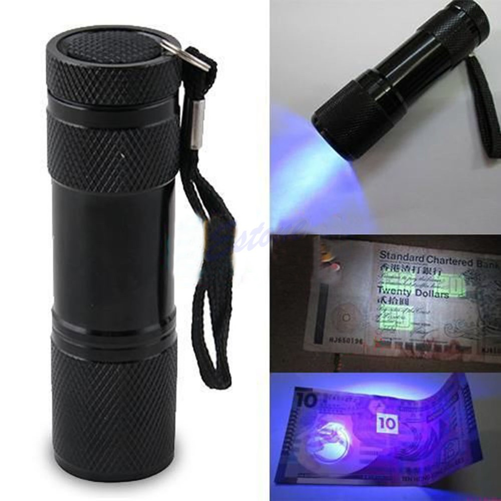 Гаджет  U119 Free Shipping Mini Portable UV Ultra Violet Blacklight 9 LED Flashlight Torch Light Lamp None Свет и освещение